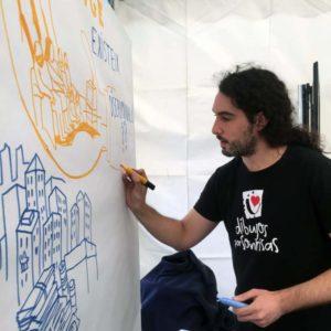 """Manu Ripoll dibujando en el encuentro """"BCN Ciutat Diversa"""""""